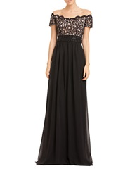 Js Boutique Scalloped Lace Bodice Gown Black
