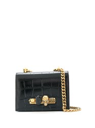 Alexander Mcqueen Croc Embossed Cross Body Bag Black