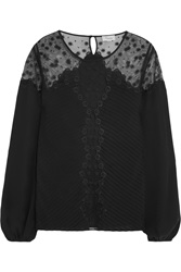 Temperley London Deneuve Tulle Paneled Silk Crepe De Chine Top Black