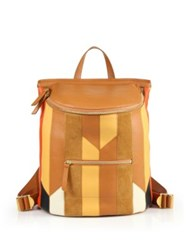 Derek Lam Mercer Patchwork Leather And Suede Backpack Canyon