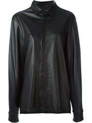 Baja East Leather Shirt Black