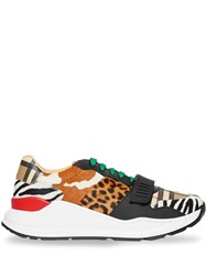 Burberry Animal Print And Vintage Check Sneakers Neutrals
