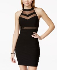 Emerald Sundae Juniors' Illusion Bodycon Dress Black