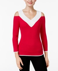 Cable And Gauge Cold Shoulder Ribbed Colorblocked Sweater Pink Ivory