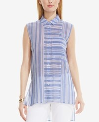 Vince Camuto Striped Sleeveless Shirt Blue Chambray
