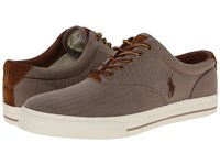 Polo Ralph Lauren Vaughn Dark Khaki Chambray Herringbone Sport Suede Lace Up Casual Shoes Brown