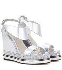 Nicholas Kirkwood Metallic Leather Wedge Sandals Silver