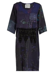 By Walid Dawn Patchwork Print Dress Blue Multi