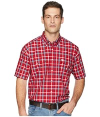 Cinch Short Sleeve Plain Weave Plaid Double Pocket Red Clothing