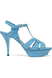 Saint Laurent Classic Tribute 75 Croc Effect Leather Sandals Light Blue