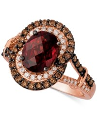 Le Vian Chocolatier Rhodolite Garnet 2 1 3 Ct. T.W. And Diamond 3 8 Ct. T.W. Ring In 14K Rose Gold Red