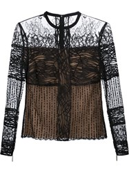 Elie Saab Lace Long Sleeve Blouse Black