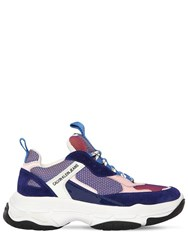 Calvin Klein Jeans 40Mm Maya Leather And Mesh Sneakers Blue Pink White