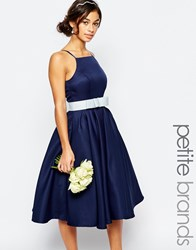 Chi Chi Petite Chi Chi London Petite High Neck Midi Prom Dress Navy