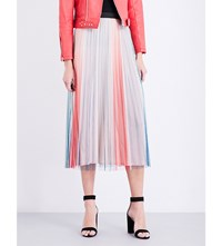 Maje Jonaelo Pleated Chiffon Skirt Imprime