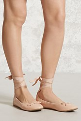 Forever 21 Lace Up Ballet Flats Blush