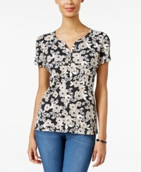 Karen Scott Floral Print Henley T Shirt Only At Macy's Deep Black