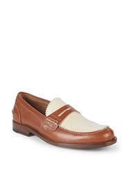 Canali Colorblock Leather Penny Loafers Brown