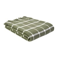 Tweedmill Pure New Wool Chequered Throw Olive