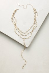 Anthropologie Layered Crystal Necklace Gold