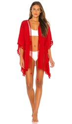 Michael Stars Tassels For All Ruana Cover Up In Red. Geranium