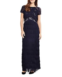 Phase Eight Astraea Lace Tiered Fringe Maxi Dress Midnight