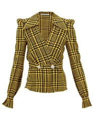 Alessandra Rich Crystal Embellished Houndstooth Silk Wrap Top Yellow Print
