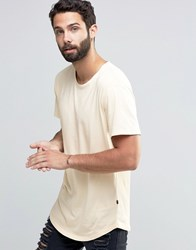 Only And Sons Longline T Shirt With Crew Neck Angora Beige