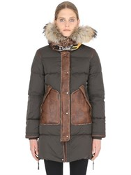 Parajumpers Nylon And Shearling Down Parka With Fur