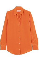 Equipment Essential Silk Crepe De Chine Shirt Orange
