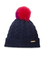 Burberry Cable Knit Wool Cashmere And Fox Fur Beanie Navy Red