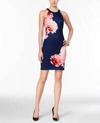 Guess Floral Print Halter Dress Navy Blush