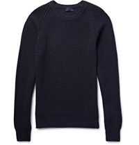 Lanvin Slim Fit Ribbed Ma Lange Cotton And Wool Blend Sweater Blue