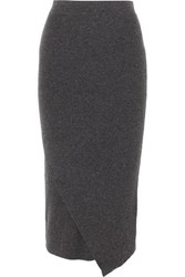 Allude Wrap Effect Ribbed Wool And Cashmere Blend Midi Skirt Gray