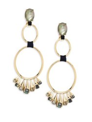 Alexis Bittar Elements Arrayed Cluster Dangling Clip On Earrings Gold Multi