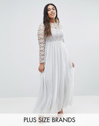 Club L Plus Maxi Dress With Crochet Top Silver Grey Sequin
