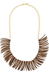 Kenneth Jay Lane Gold Plated Faux Wood Necklace
