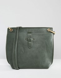 Warehouse Tab Detail Cross Body Olive Green