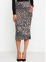 By Malene Birger Opunia Leopard Print Midi Skirt Grey