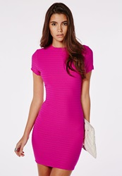 Missguided Textured High Neck Short Sleeve Bodycon Dress Hot Pink Pink
