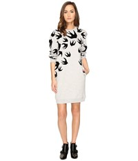 Mcq By Alexander Mcqueen Classic Sweater Dress Mercury Melange Women's Dress White