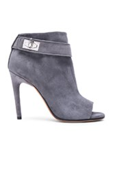 Givenchy Ryka Suede Booties In Gray Blue