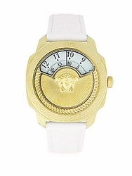 Versace Greek Key Leather Strap Watch Yellow Gold