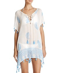 Surf Gypsy Paisley Border Print Tunic Swim Cover Up Baby Blue
