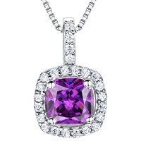 Jools By Jenny Brown Sterling Silver Cubic Zirconia Square Cushion Pendant Amethyst