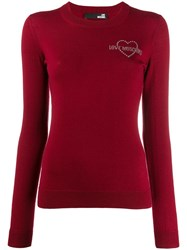 Love Moschino Embellished Logo Sweater Red