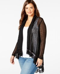 American Rag Plus Size Lace Trim Pointelle Cardigan Only At Macy's Classic Black