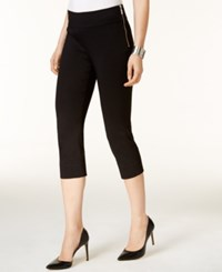 Inc International Concepts Petite Zipper Detail Cropped Pants Only At Macy's Deep Black
