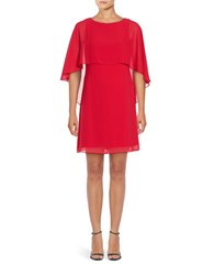 Vince Camuto Crepe Overlay Shift Dress Red