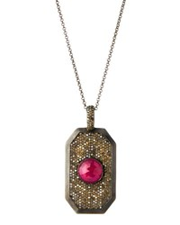 Bavna Pave Diamond And Composite Ruby Pendant Necklace